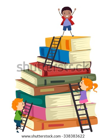 Stickman Illustration of Kids Climbing a Tall Stack of Books - stock vector