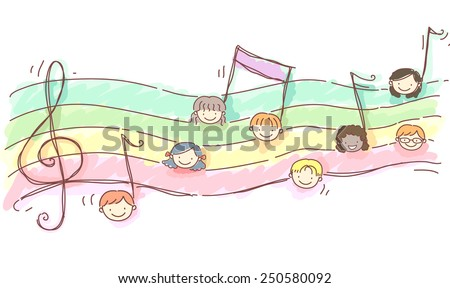 Stickman Illustration of Kids Drawn as Musical Notes - stock vector