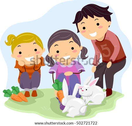 Stickman Illustration of Kids in a Farm Happily Feeding a Pair of Rabbits with Carrots