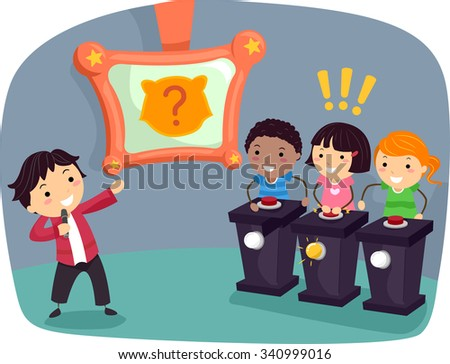 Stickman Illustration of Kids Playing an Animal Themed Game Show - stock vector
