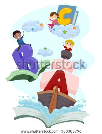 Stickman Illustration of Kids Riding Magical Books - stock vector