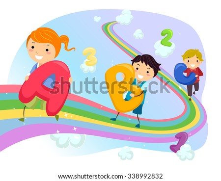 Stickman Illustration of Kids Walking on a Rainbow - stock vector