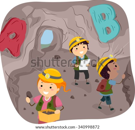 Stickman Illustration of Little Kids Exploring a Cave - stock vector