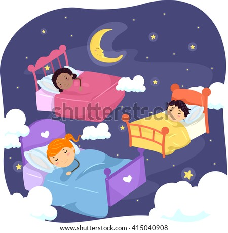 Stickman Illustration Sleeping Kids Surrounded By Stock ...