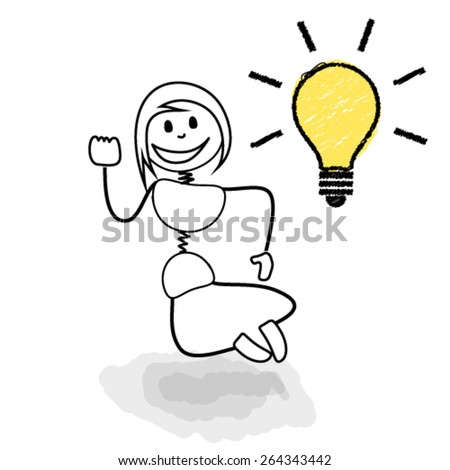 Stickman jumping with light bulb representing great ideas. Concept image for creative business ideas.