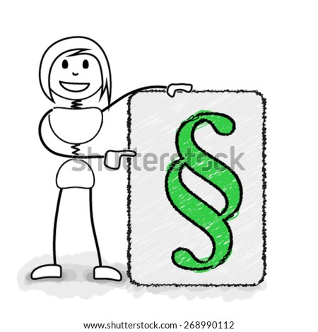 Stickman pointing to paragraph symbol. Concept image for creative business ideas