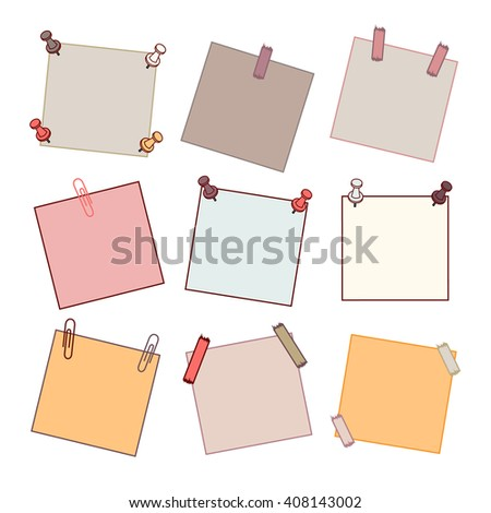 Sticky memo post note isolated memo post on white memo background . Vector illustration memo post. eps10. Thin modern line. Nine memo - stock vector