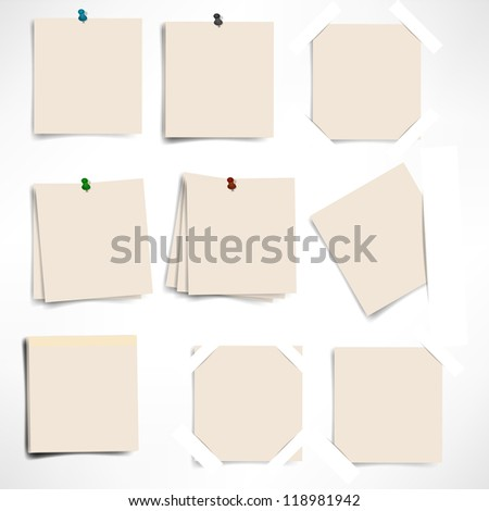sticky note isolated on white background, vector illustration - stock vector