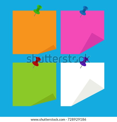 Sticky note with clip. Isolated vector illustration on  background
