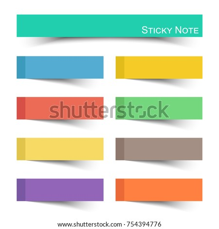 Sticky note with flat color . Vector .