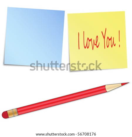Sticky notes and pencil - stock vector