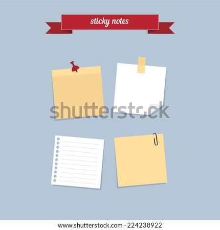 Sticky notes. Flat style design - vector - stock vector