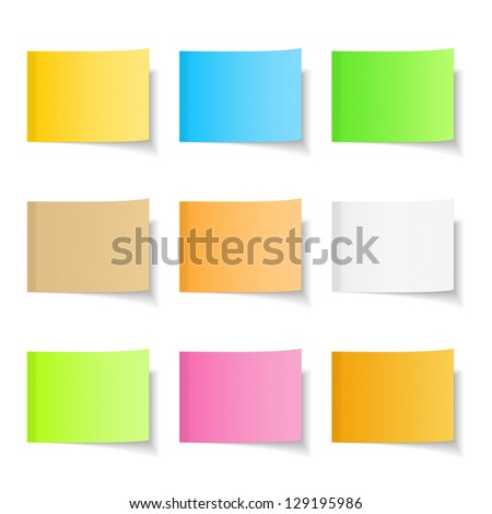 Sticky notes, nine different colors, vector eps10 illustration - stock vector