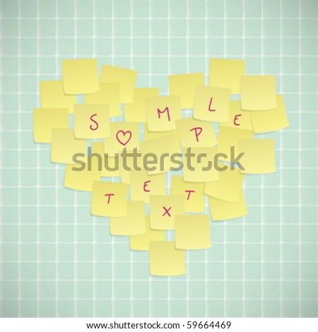 Sticky Notes Valentine Card - stock vector