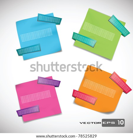 Sticky Notes with Origami Tabs. EPS 10 Vector - stock vector