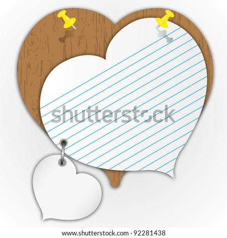 Sticky pad heart pattern on wooden board with pin. - stock vector