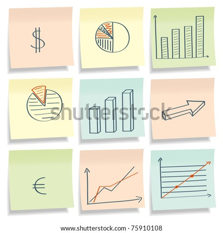 Sticky papers with picture graphics. Vector illustration. - stock vector