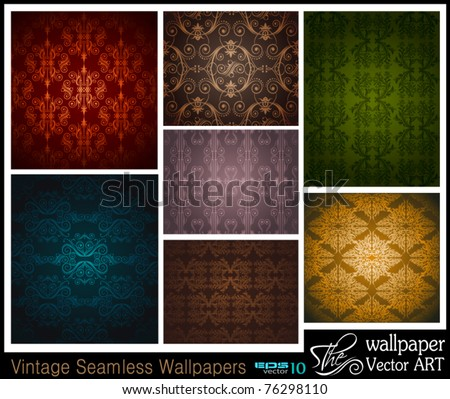 Stilish Set of 7 seamless vintage wallpapers - stock vector