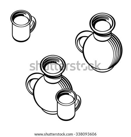 Still life - crock and cup of milk - stock vector