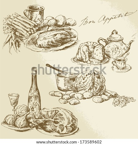 still life, hand drawn food  - stock vector