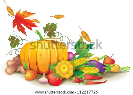 Still life of autumn harvest - stock vector