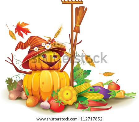 Still life of autumn harvest with a figure of pumpkins