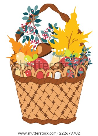 Still life of different vegetable and fruits with maple leaves in the basket.