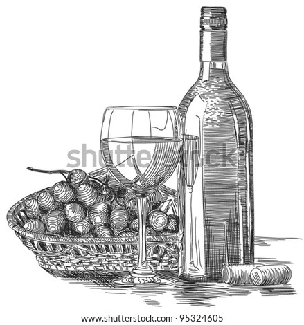Still life: wineglass, bottle and wicker basket with grape. Black and white graphics vector illustration - stock vector
