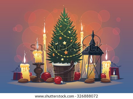 Still life with candles and Christmas Tree. Christmas greeting card \ background \ poster. Vector illustration. - stock vector