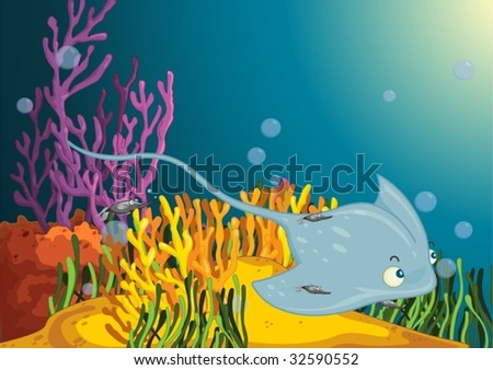 Sting ray accompanied by smaller fish - stock vector