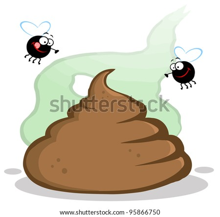Stinky Pile Of Poop With Two Flies.Vector Illustration - stock vector