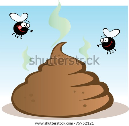 Stinky Pile Of Poop With Two Flies.Vector illustration with simple gradients.Jpeg version also available - stock vector