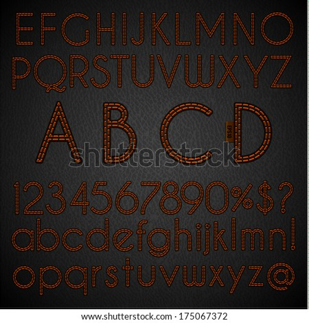 Stitched alphabet and digits set on leather background - eps10 - stock vector