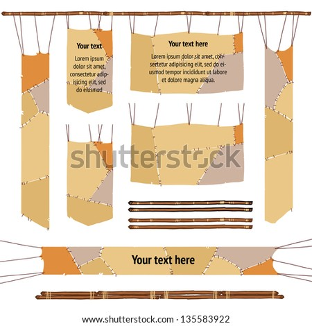 stitched animal skins border. backdrop for text. Stone age caveman or barbarian hunting theme - stock vector