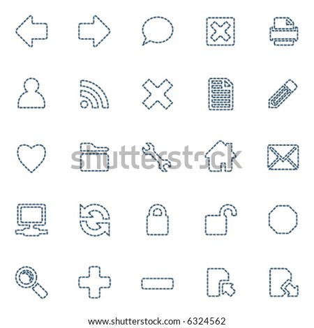 Stitched icons, set of 25 in blue - stock vector