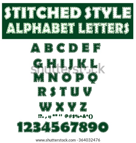 Stitched label style digital alphabet letters. Green capitals.  Graphic design element. Vector illustration - stock vector