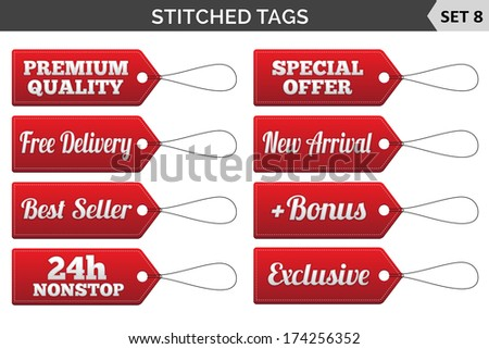 Stitched tags. Set 8. Vector illustration. - stock vector