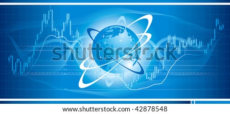 Stock chart on a globe. Concept of global trade. Vector illustration. - stock vector