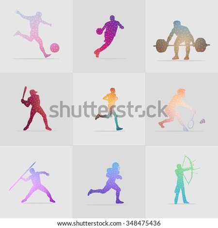 Stock Collection Colorful Polygon Sport - stock vector