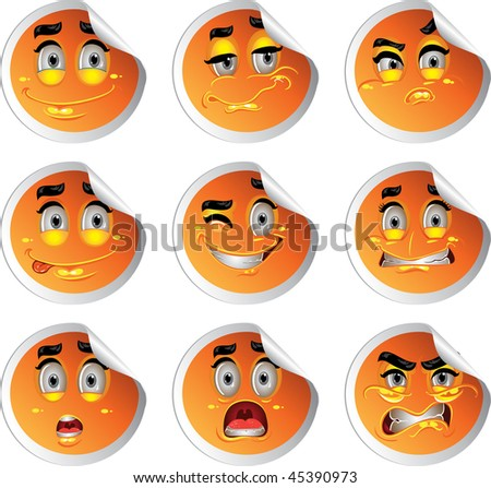 stock color vector glossy stickers smiles - stock vector