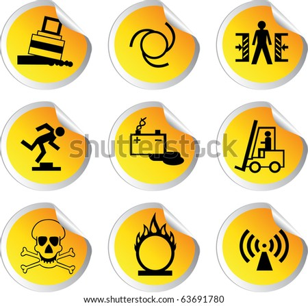 stock color vector glossy stickers with warning signs set 2 - stock vector