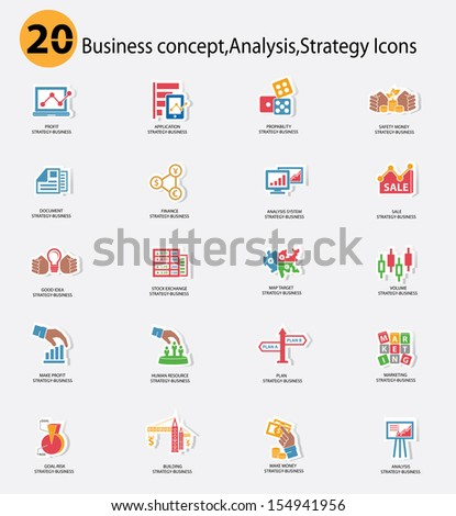 Stock exchange and Business analysis icons,Colorful version,vector - stock vector