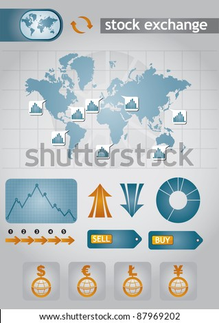 Stock exchange charts with abstract background and diagram - stock vector