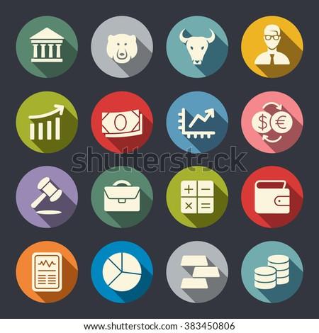 Stock Exchange flat icon set - stock vector