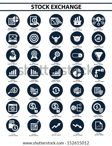 Stock exchange icon set,vector - stock vector