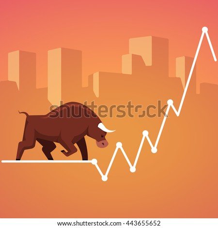 Stock exchange market bulls metaphor. Growing, rising up stock price. Trading business concept. Modern fat style vector illustration. - stock vector