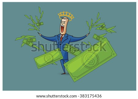 Stock Illustration. Bob. Funny characters drawn in the style of flat lines. Success.