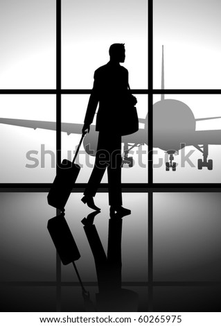 Stock illustration of a business man carrying a luggage at the airport - stock vector