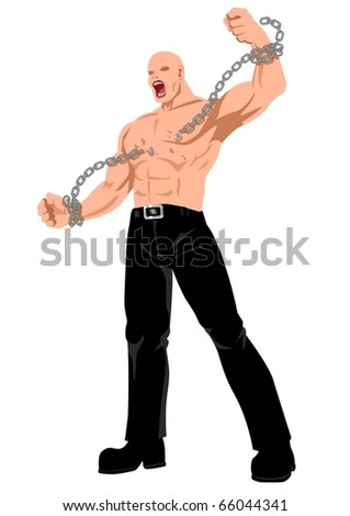 Stock illustration of a man breaking a chain - stock vector