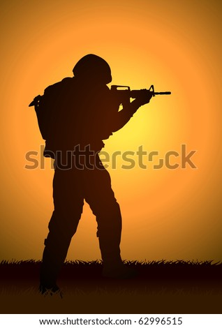 Stock illustration of a soldier aiming his riffle - stock vector